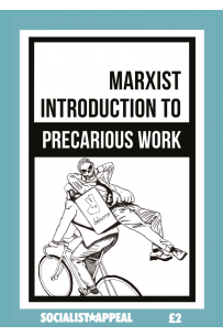An A5 cover reading 'A Marxist Introduction To Precarious Work'. The cover depicts a black and white drawing of a skeleton in a businessman's suit and tie leaning on the back of a cycle courier whose equipment has the Deliveroo logo.