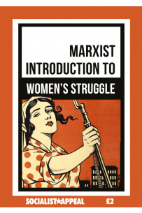 A book cover, the title of which reads 'A Marxist Introduction to the Women's Struggle'. Pictured is a vintage poster of a woman holding a rifle, looking confident.
